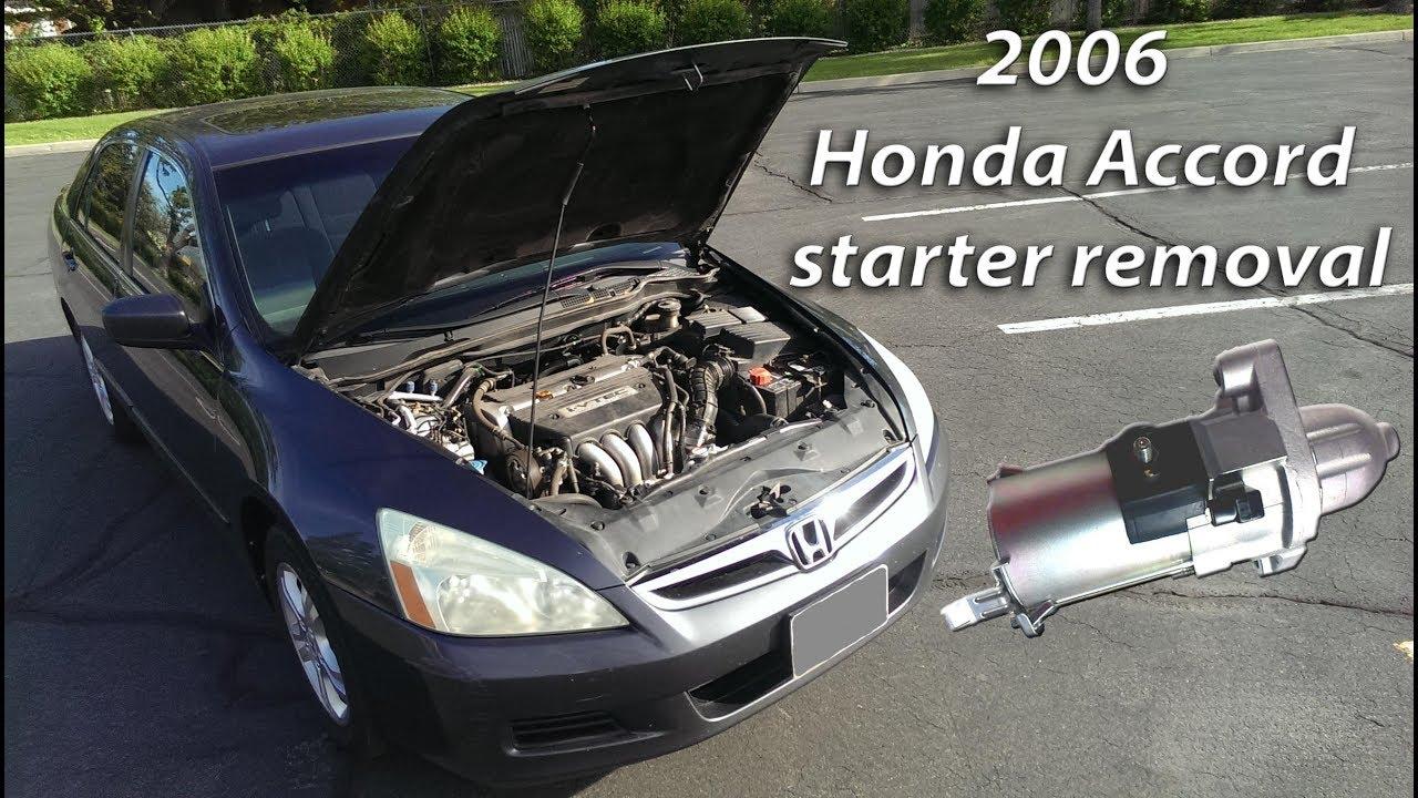 2006 honda accord starter removal [ 1280 x 720 Pixel ]