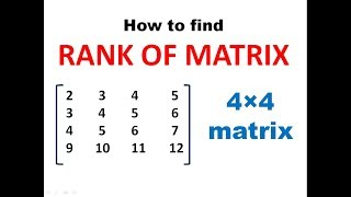 How to find Rank of Matrix || RANK OF MATRIX || MATRICES || Engineering