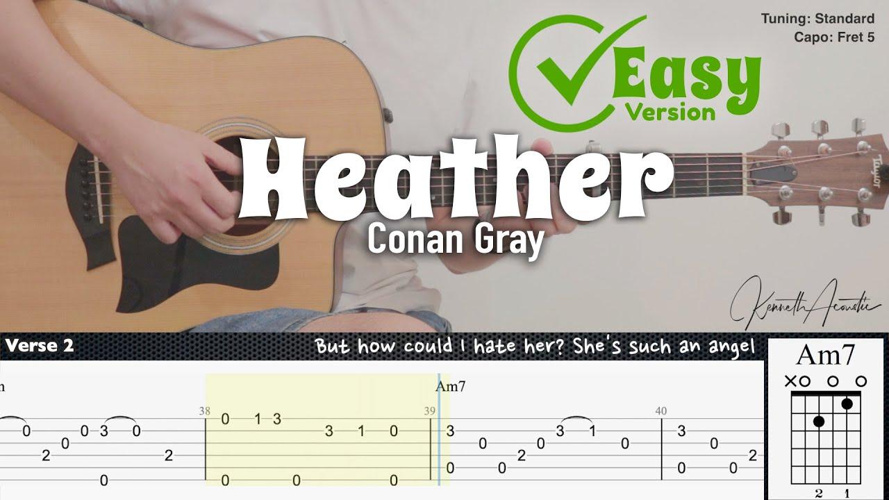Heather (Easy & Plucking Version) - Conan Gray | Fingerstyle Guitar | TAB + Chords + Lyrics