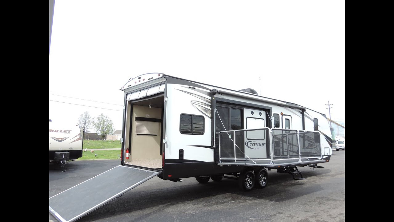 Awesome New Floorplan 37 2017 Torque T32 1Slide Side Patio Toy Hauler  YouTube