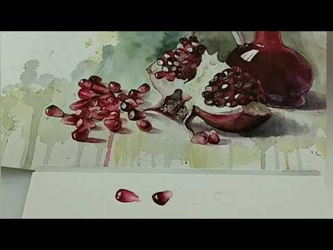 Гранат акварелью, 1 часть. Как сделать белые блики в акварели