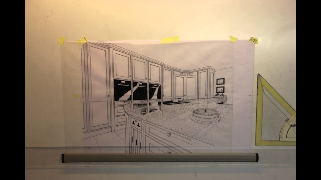 Kitchen perspective drawing - Timelapse Perspective Kitchen Drawing