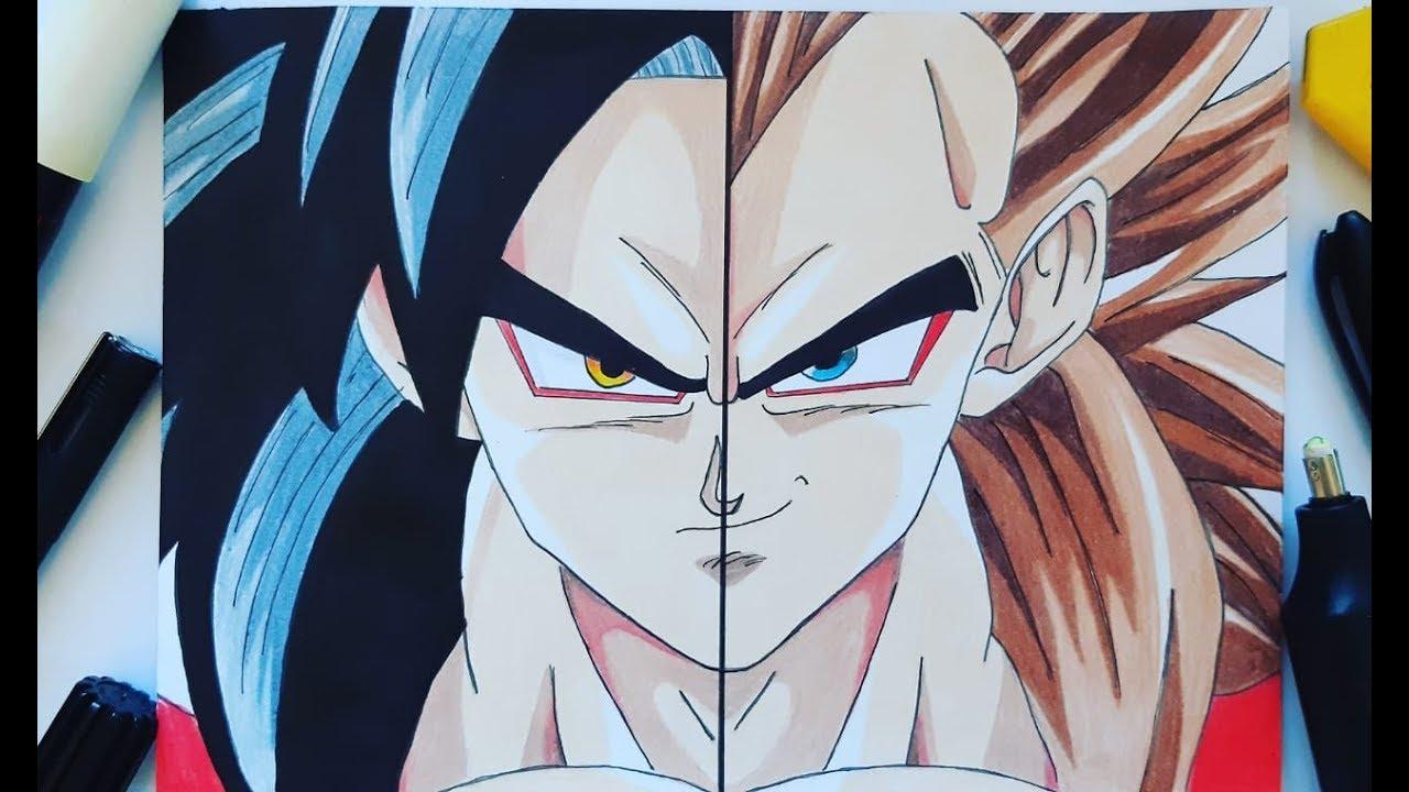 Como Desenhar Goku Ssj4 Vegeta Ssj4 How To Draw Goke Vegeta