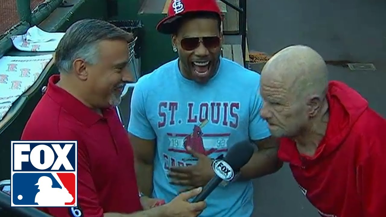 Nelly Interviewed by Cardinals Player in Grandpa Disguise