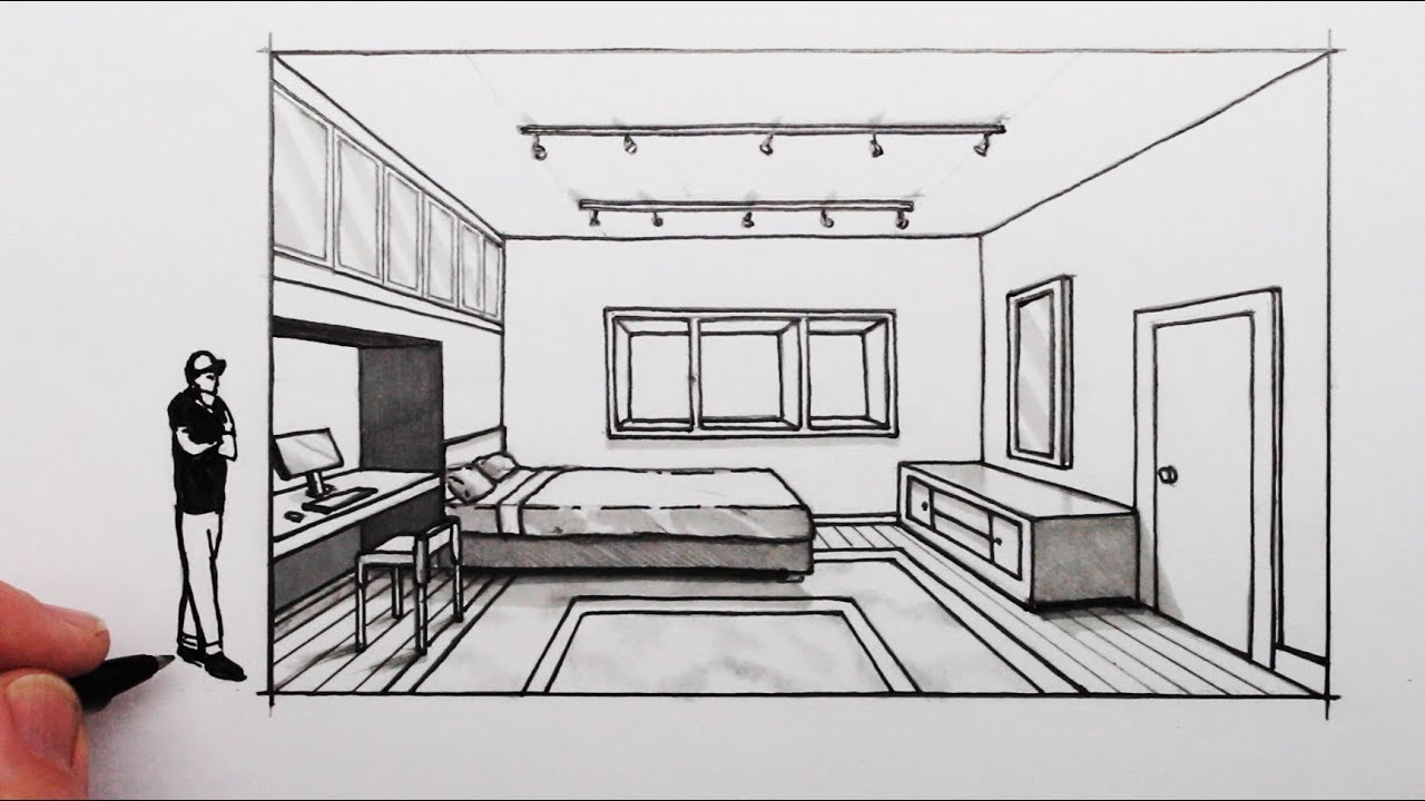 How To Draw A Bedroom In 1 Point Perspective Youtube
