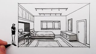 How to Draw a Bedroom in 1-Point Perspective