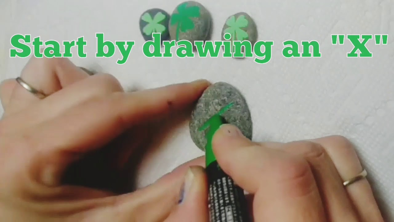 Easy Rock Painting How To Draw A 4 Leaf Clover With Posca Paint Pens