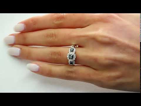1 CT BLACK SI2 F DIAMOND THREE STONE ENGAGEMENT RING 10K WHITE GOLD