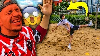 1 VS 1 BEACH VOLLEY FUßBALL CHALLENGE !