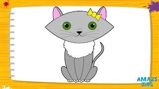 Как Легко Нарисовать Кошку для Детей.Учимся Рисовать Животных. Рисунки Своими Руками Уроки Рисования