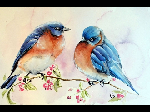 watercolor blue birds painting demonstration youtube