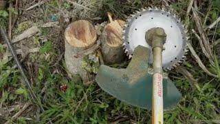 ตัดต้นไม้ด้วยเครื่องตัดหญ้า cut wood with lawn mower