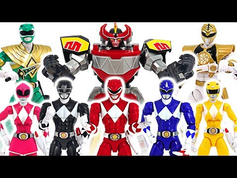 Power Rangers Mighty Morphin 7 Rangers and build a Megazord combine! Go! #DuDuPopTOY