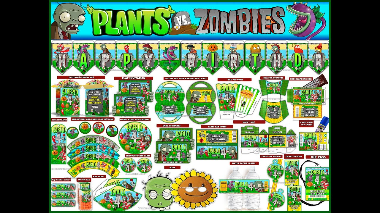 video kit party printable and editable plants vs zombies youtube. Black Bedroom Furniture Sets. Home Design Ideas