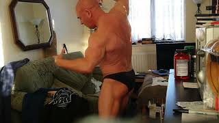practising posing for the NABBA midlands over 50  bad decision !