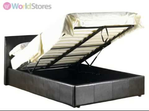 fusion storage faux leather bed frame