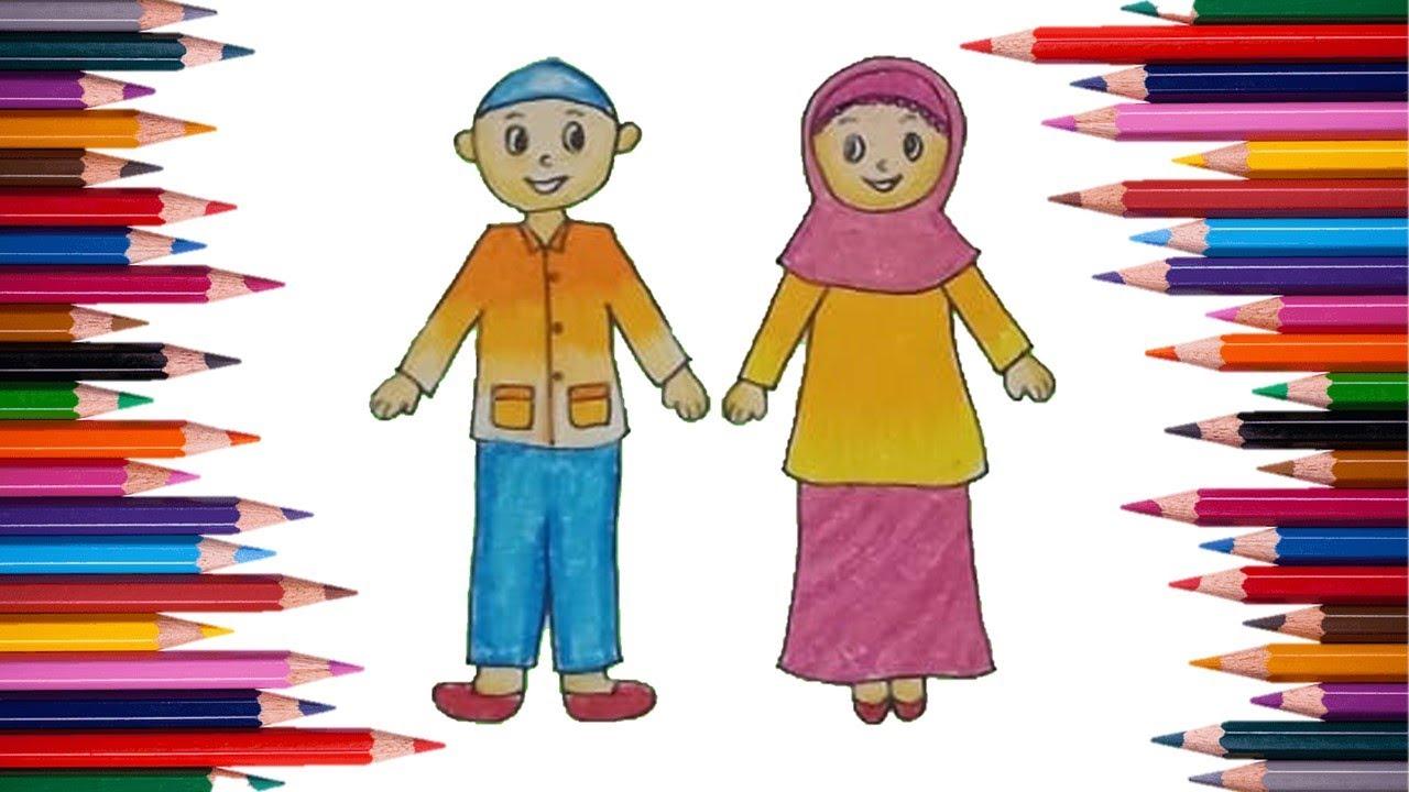 Cara Menggambar Dan Mewarnai Anak Laki Laki Dan Anak Perempuan Youtube