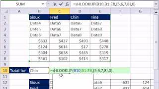 Excel Magic Trick 684: VLOOKUP 1 item & Add Values from Multiple Rows/Columns - HLOOKUP