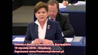 Piękna wypowiedź Beaty Szydło podczas debaty o Polsce w Parlamencie Europejskim