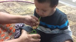 Learn how to drink water from 2year old funny