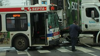15 Hurt When Commuter Bus and Truck Collide