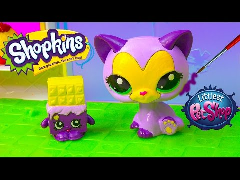 DIY Shopkins Season Inspired LPS McDonalds Happy Meal Toys Cat Littlest Pet Shop Custom Craft Video