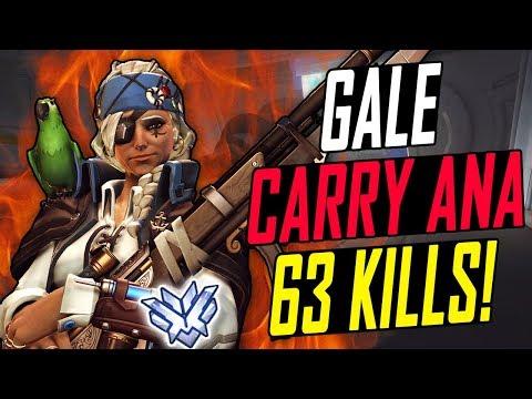 GALE CARRY ANA! 63 KILLS! HE'S INSANE! [ OVERWATCH SEASON 6 TOP 500 ]