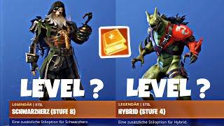 Fortnite: WHICH LEVEL for MAX BLACK & HYBRID Skin ? | ALL SKIN LEVEL SEASON 8