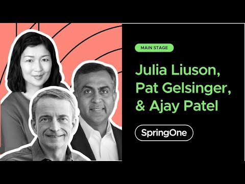 Ajay Patel with Pat Gelsinger and Julia Liuson at SpringOne 2020