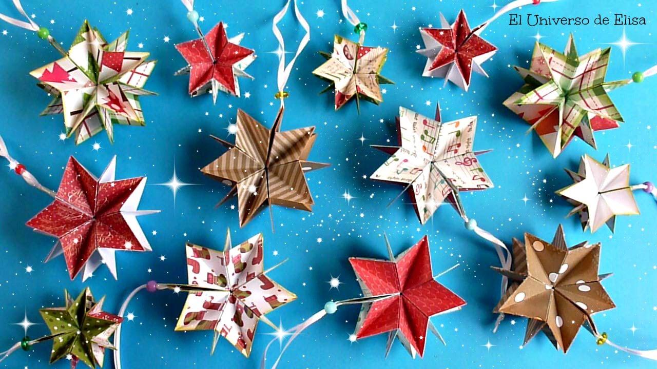 decora tu rbol de navidad con estrellas de papel scrapbook para navidad youtube