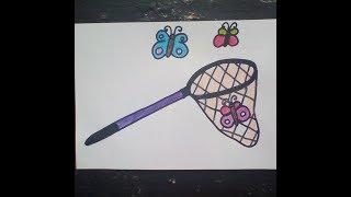 рисуем сачок и бабочки  -  Draw a butterfly net and butterflies Как нарисовать милые рисунки