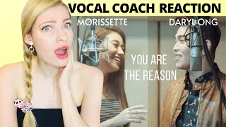 Vocal Coach Reacts: MORISSETTE AMON & DARYL ONG sing 'You Are The Reason' by Calum Scott