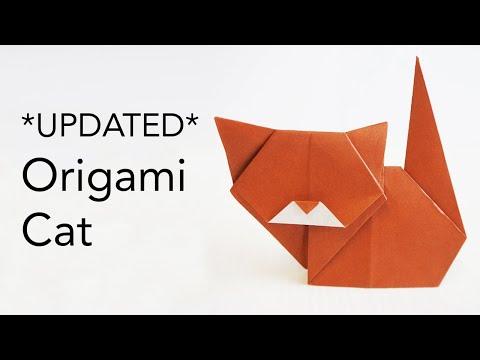 NEW \u0026 UPDATED Origami Cat Tutorial Video - Designed by Keiji Kitamura