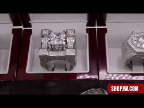 925 Silver Micro Pave Simulated Diamond Mens Hip Hop Rings
