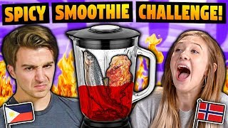 We Sent Lunch Around The World To Our Fans! | Spiciest Smoothie Challenge