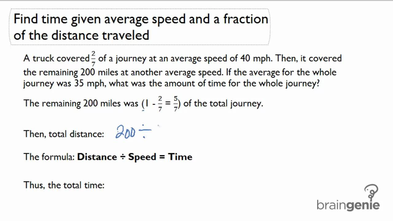 223 Find time given average speed and fraction of distanceword – Speed Problem Worksheet