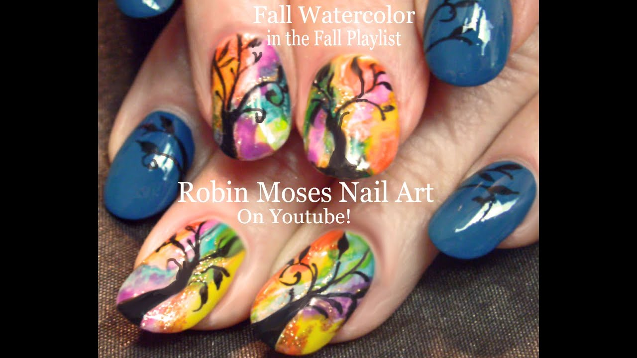 Easy Rainbow Watercolor Trees Fun Fall Tree Nail Design Tutorial