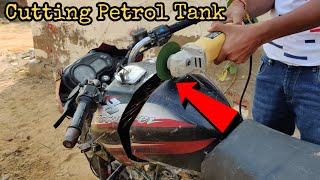 Cutting Bike Petrol Tank From Grinder || What's Inside In Bike Tank || Experiment King