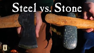 600 Year Old Stone Axe vs. Steel Axe