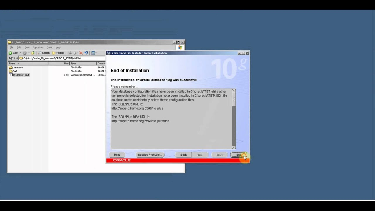 Install Oracle 10 2 for SAP