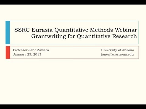Grantwriting to Support Quantitative Research in Eurasian Contexts