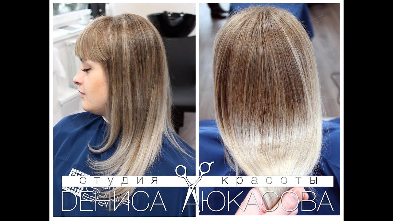 Растяжка цвета на волосах блонд