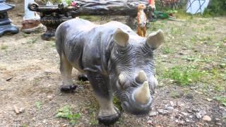 Садовая фигура Носорог у Бревно с зайцем фигуры животных купить для квартиры сада дачи дома(, 2015-07-15T09:56:19.000Z)