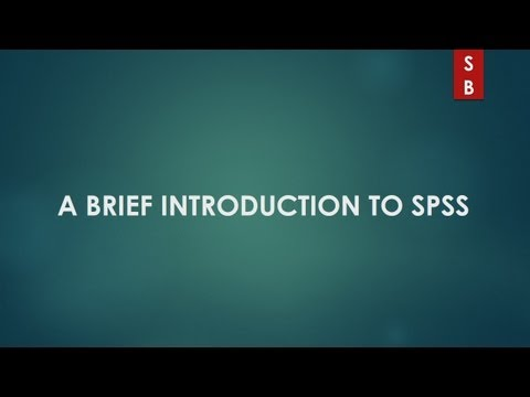 A brief Introduction to SPSS