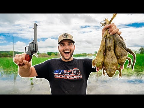 Hunting GIANT Bullfrogs with a REVOLVER!!! (Catch Clean Cook)