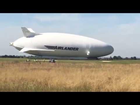 Airlander 10 crashing into the ground cardington shed airship HD...