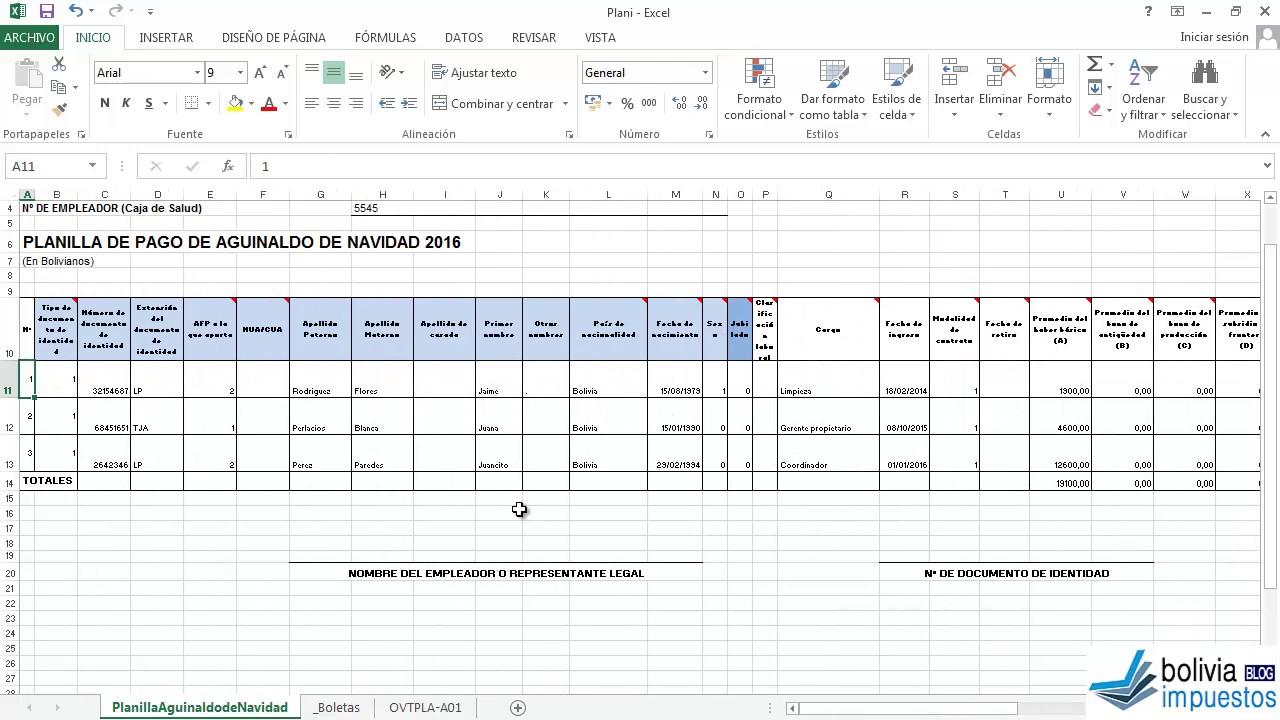 Planilla Aguinaldo Ministerio Trabajo Formato Excel