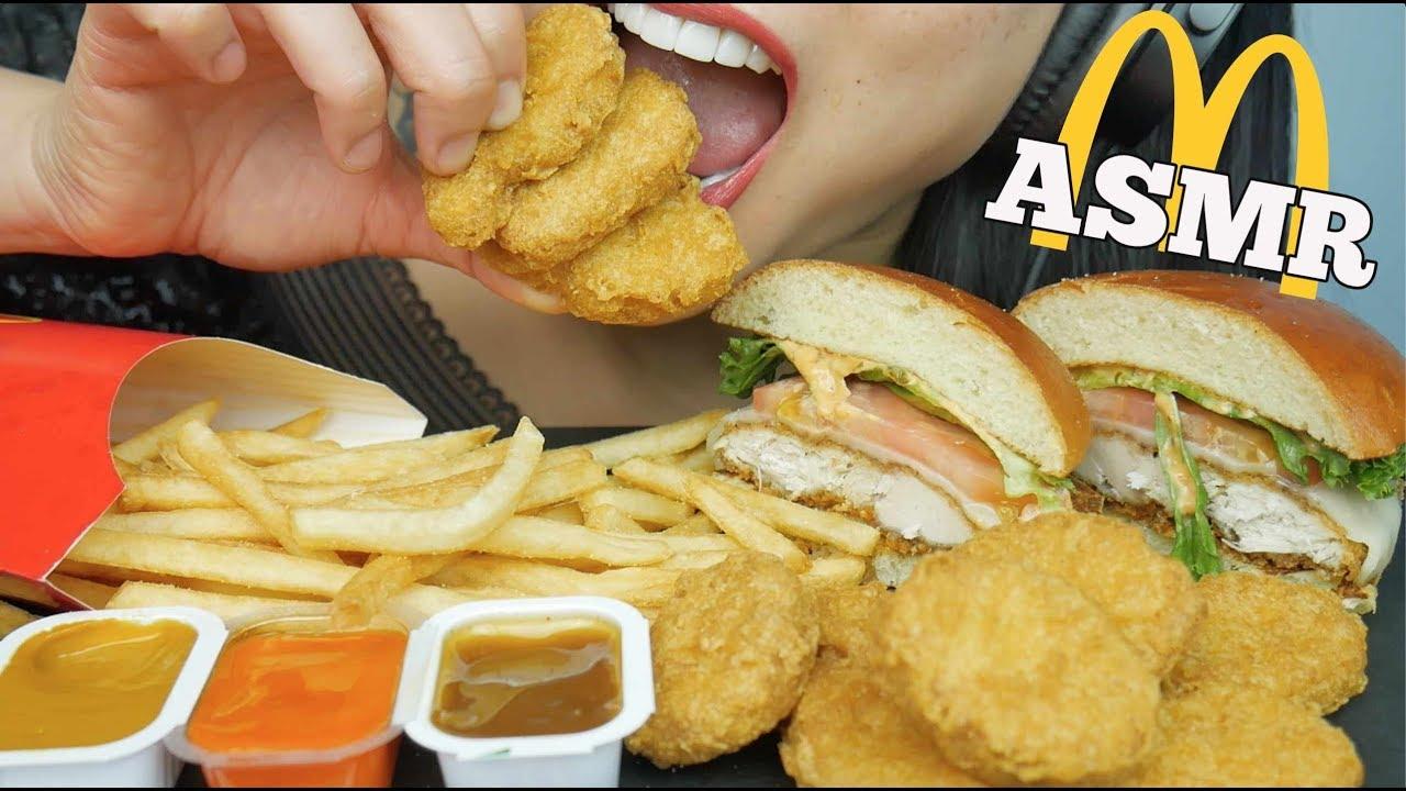 Asmr Mcdonalds Chicken Nuggets Burger Eating Sounds No Talking Sas Asmr