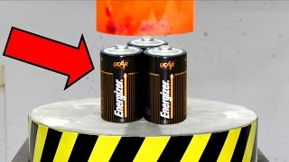 EXPERIMENT Glowing 1000 degree HYDRAULIC PRESS 100 TON vs BATTERY