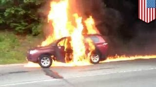 Man burns to death in horrific car fire on Grand Central Parkway, Queens